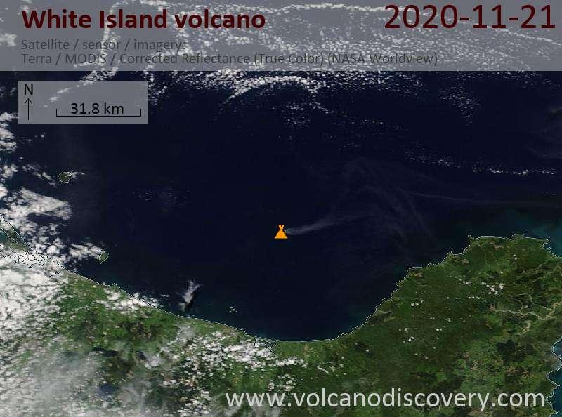 Satellite image of White Island volcano on 21 Nov 2020