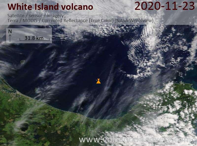 Satellite image of White Island volcano on 23 Nov 2020