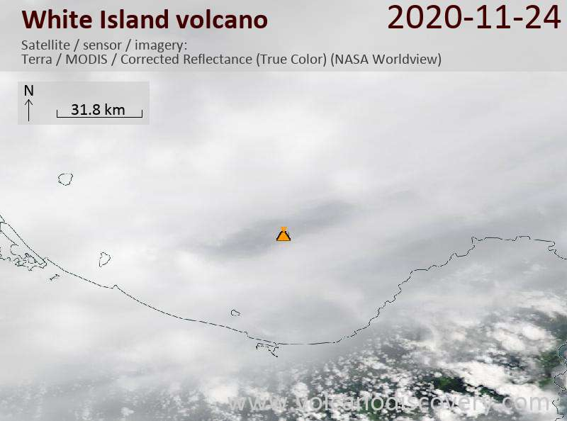 Satellite image of White Island volcano on 24 Nov 2020