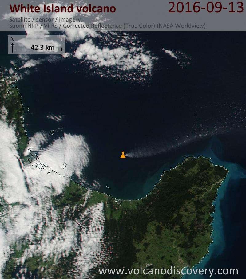 Ash plume from White Island today seen on Nasa's Suomi NPP satellite