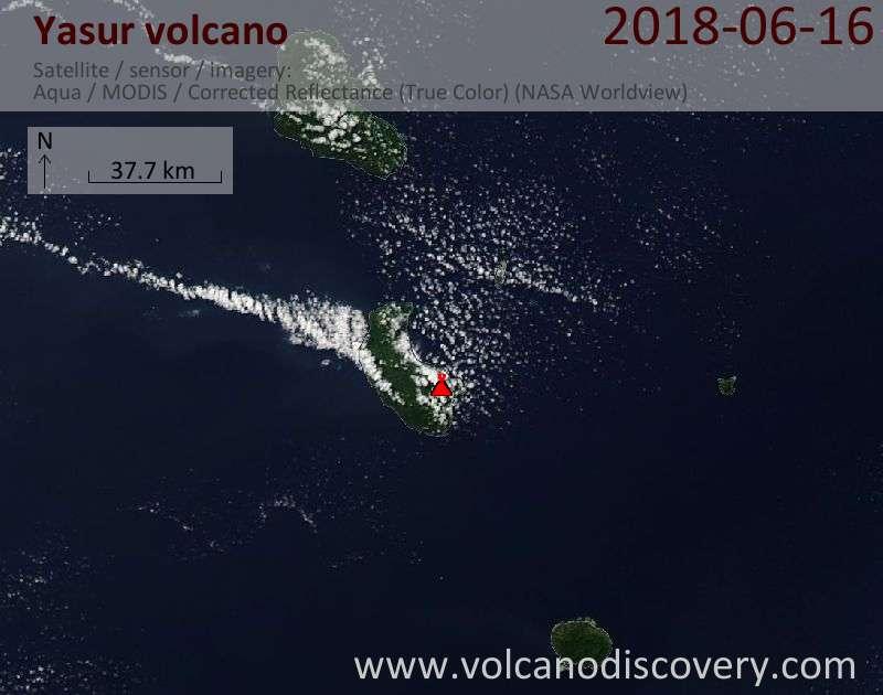 Satellite image of Yasur volcano on 16 Jun 2018