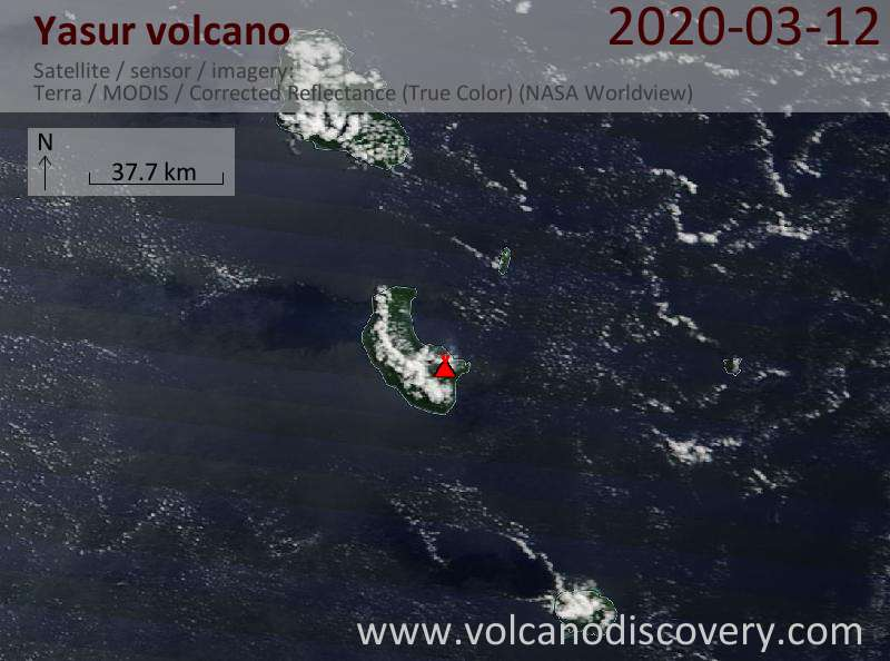 Satellite image of Yasur volcano on 12 Mar 2020