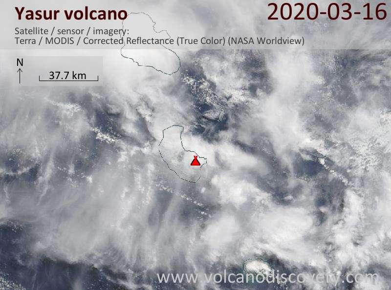 Satellite image of Yasur volcano on 16 Mar 2020