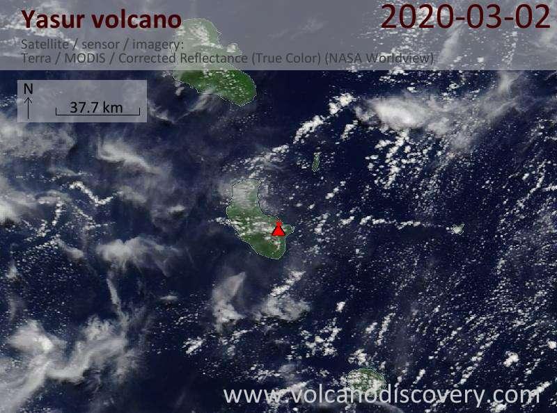 Satellite image of Yasur volcano on  2 Mar 2020