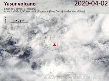 Satellite image of Yasur volcano on  2 Apr 2020