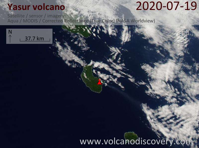 Satellite image of Yasur volcano on 20 Jul 2020