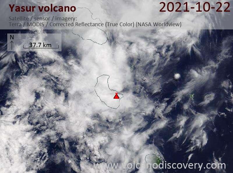 Спутниковое изображение вулкана Yasur 22 Oct 2021