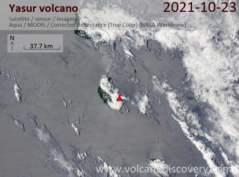 Спутниковое изображение вулкана Yasur 23 Oct 2021