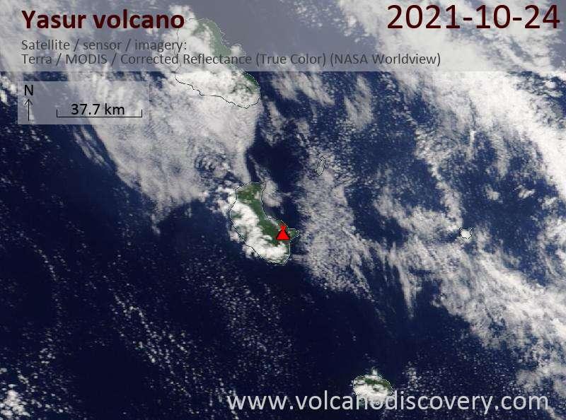 Satellite image of Yasur volcano on 24 Oct 2021