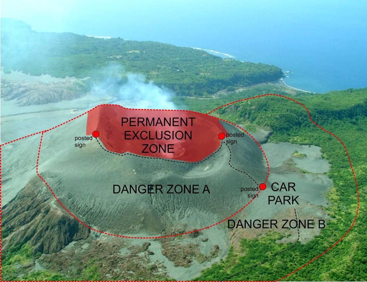 Yasur caldera safety map (C) Vanuatu Meteorology and Geohazards Department