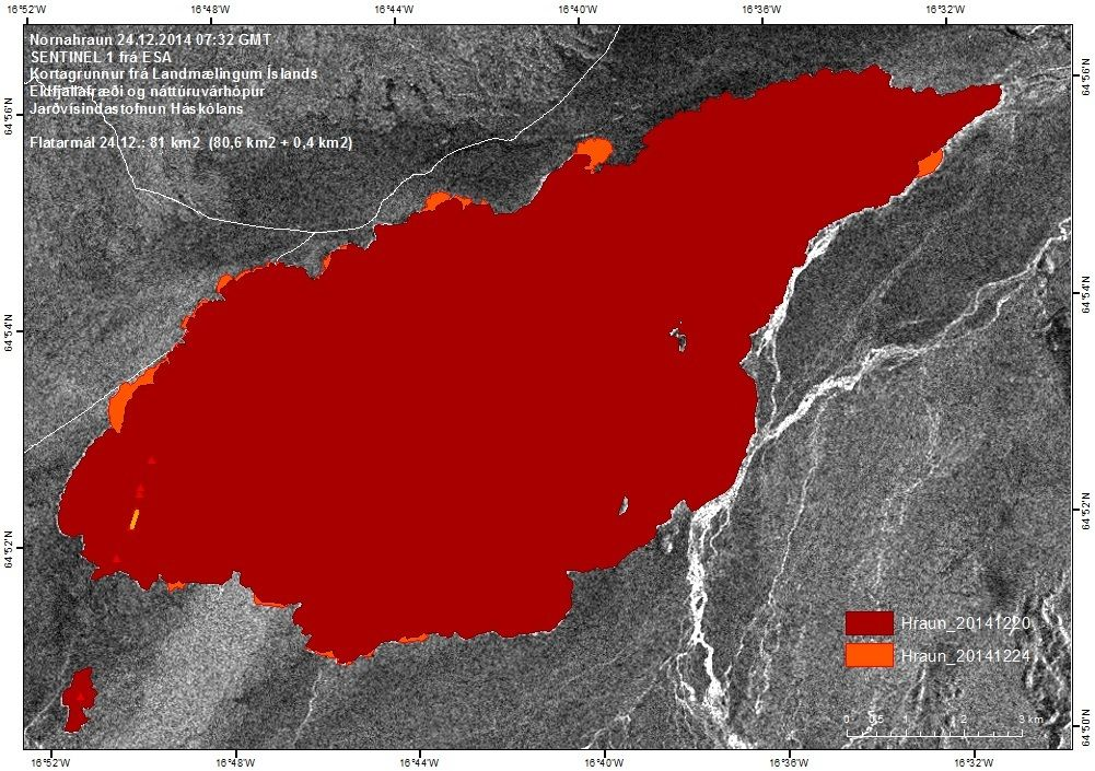 Map of the Nornahraun lava field as of 24 Dec 2014 (Univ. Iceland)
