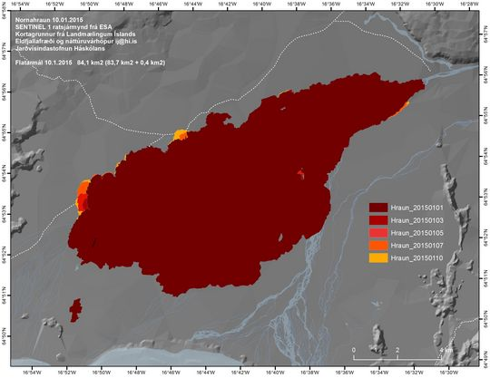 Map of the Nornahraun lava field as of 10 Jan 2015 (Univ. Iceland)