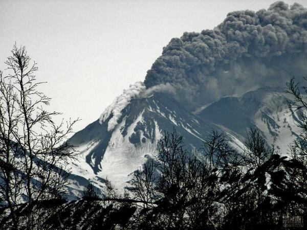 Ash emissions of Zhupanovsky volcano on 7 June the morning after the initial explosion at night (photo: Vasily Yaremchuk via  Evgeny Karpov, @Jeenka41 / twitter)