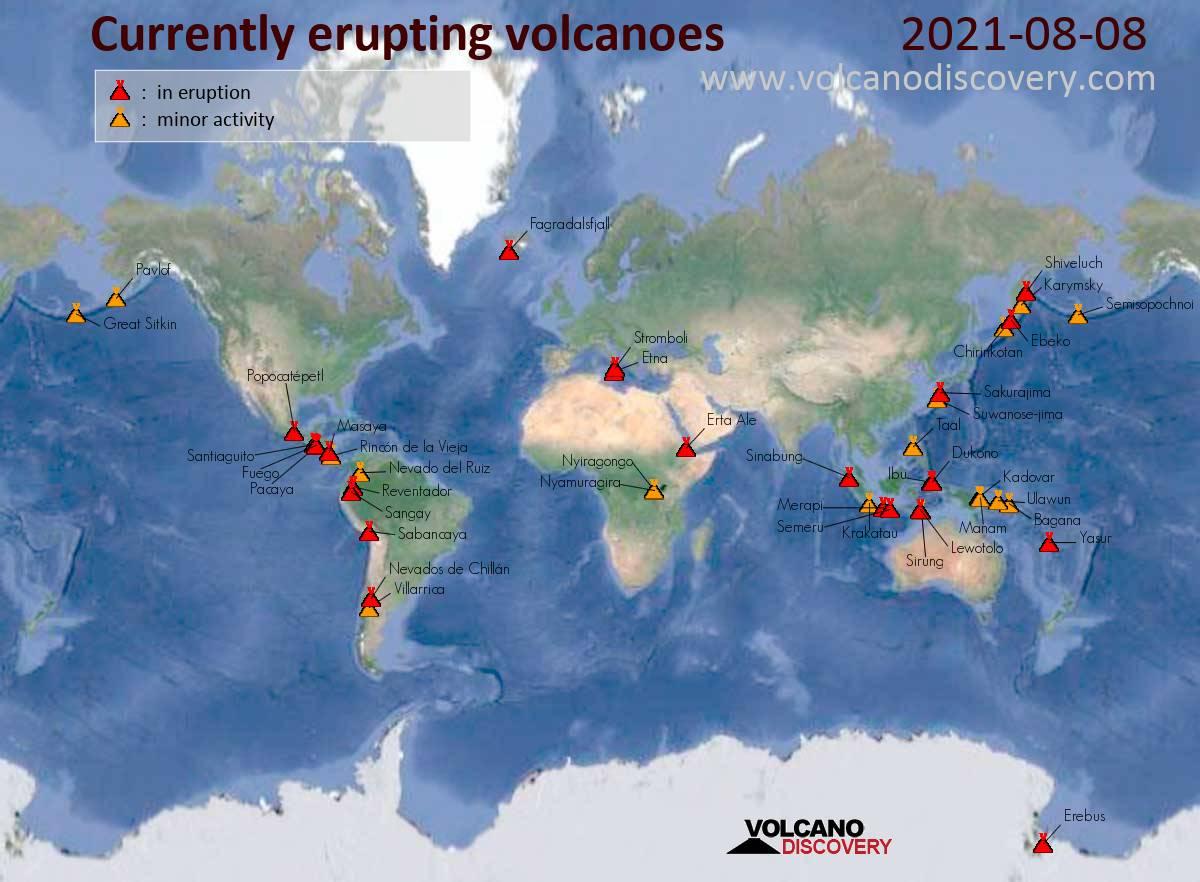 Mapa de volcanes activos hoy