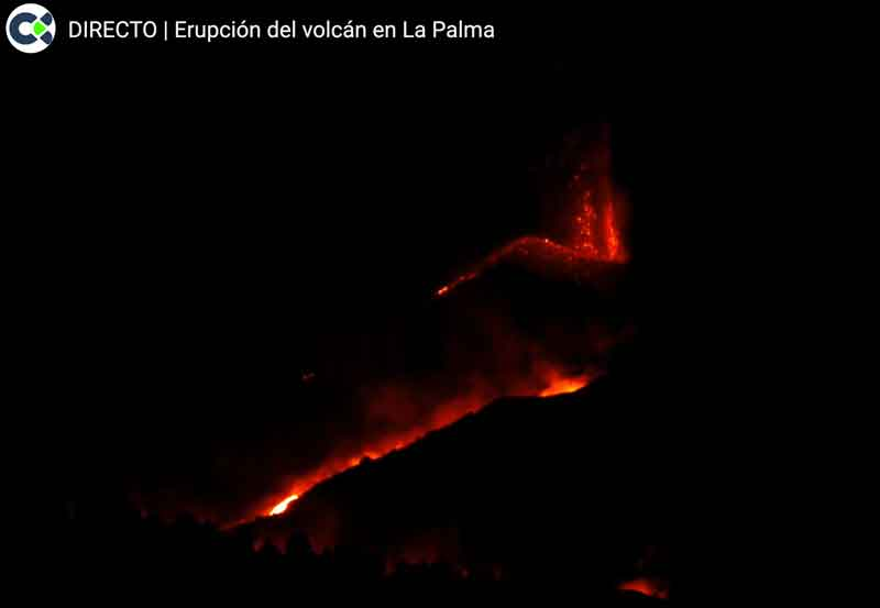 View of the vent area at La Palma this morning (image: Canarias TV live stream)