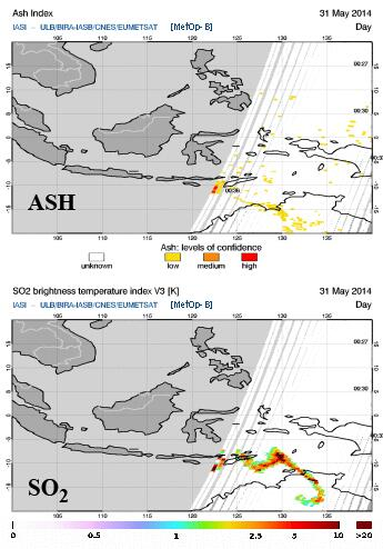 Aerosols from yesterday's eruption spreading towards Australia (ESA)
