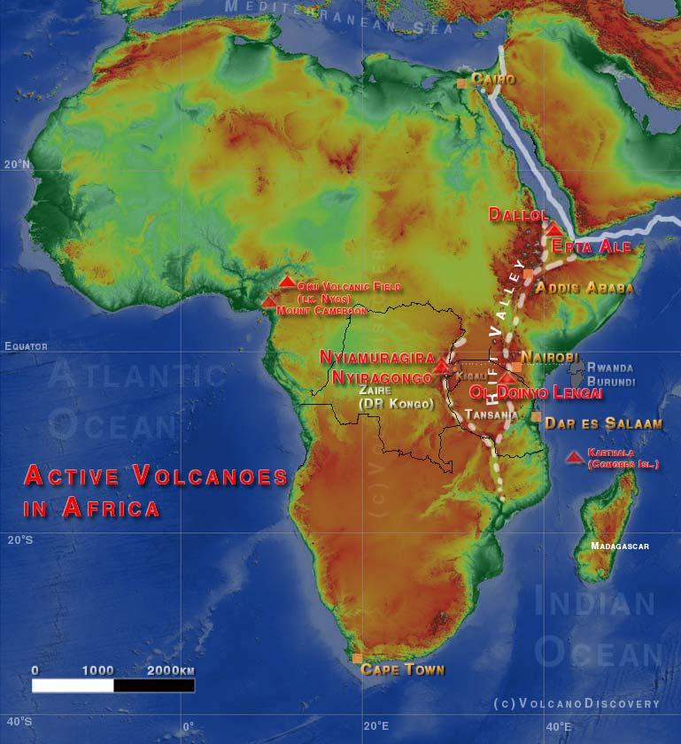 Carte shématique montrant les volcans les plus actifs d'Afrique.
