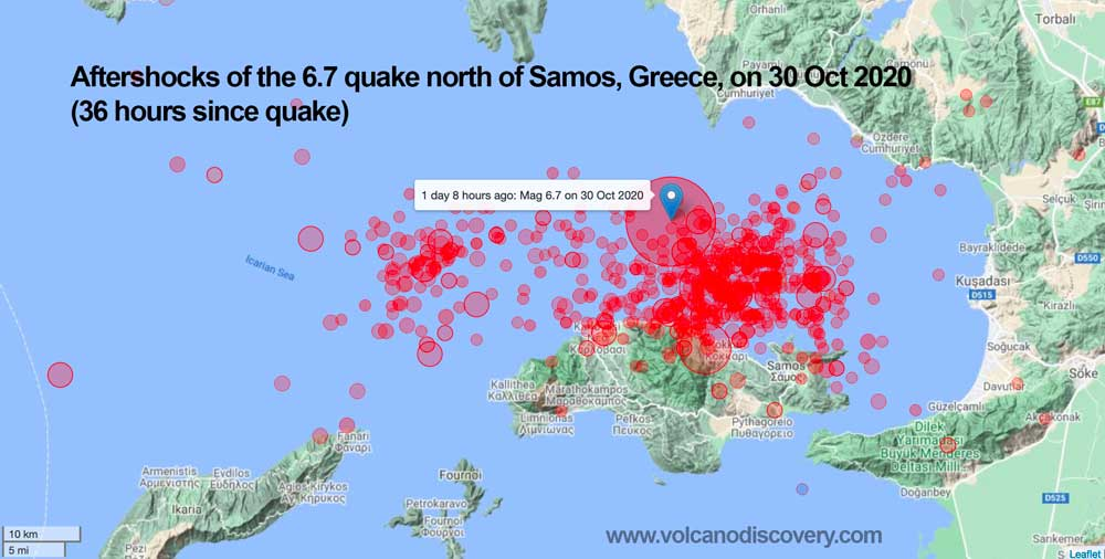 Map showing aftershocks during the 32 hours since the earthquake