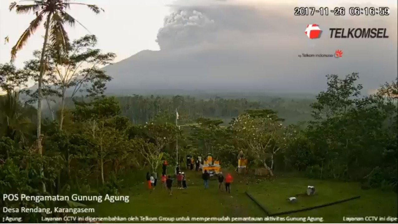 Ash plume from Agung volcano yesterday morning (image: PVMBG)