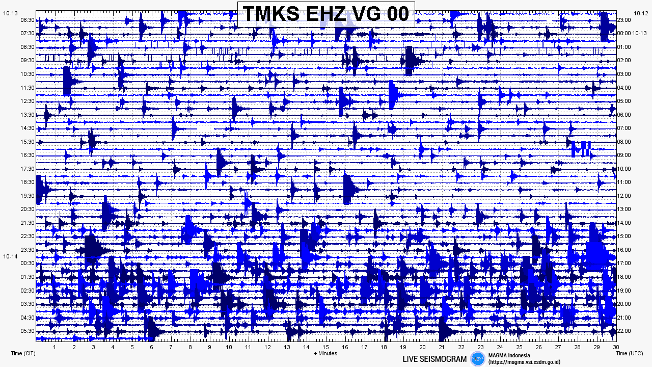 Current seismic plot from VSI's TMKS station showing a swarm of quakes under Agung and possibly some tremor (thicker baseline)
