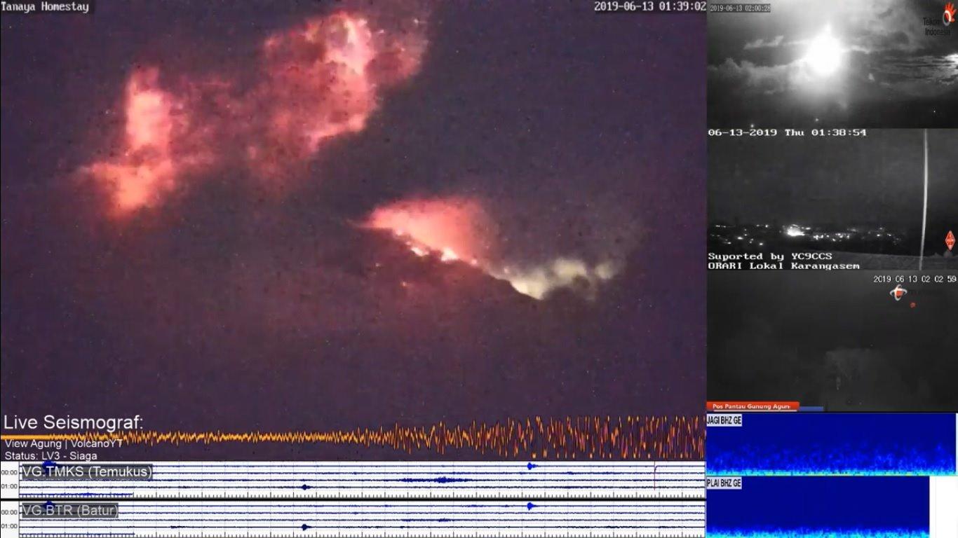 Eruption of Agung volcano this morning (image: volcanoes yt via Fb via vulkane.net)