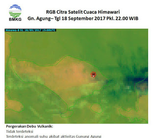 Thermal hot spot at Agung, possibly from forest fire only (PVMBG)