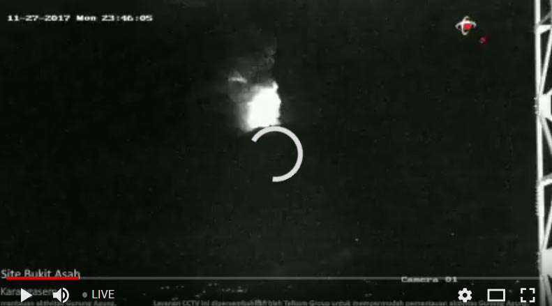 Night-time view of the eruption at Agung volcano (Telkomsel Balinusra webcam live view)