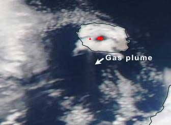 Gas plume and thermal hot spot from Alaid volcano yesterday (NASA satellite image)