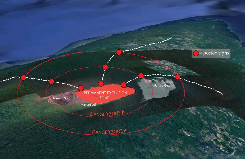 Aoba caldera safety map (C) Vanuatu Meteorology and Geohazards Department