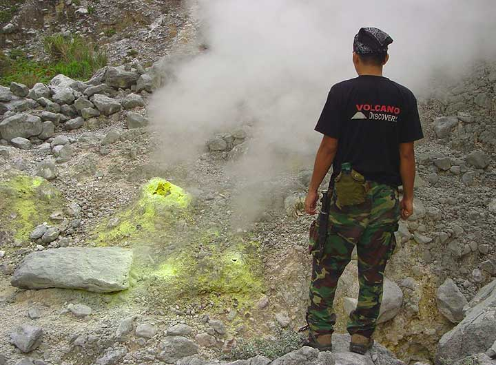 Donald in front of one of Ambang's many fumaroles