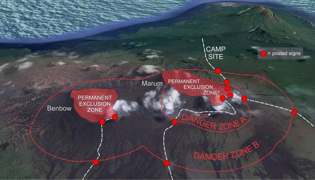Map of Ambrym's exlusion zones around Benbow and Ambrym (image: Geo-Hazards)