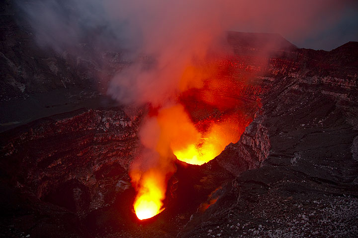Volcanoes of Vanuatu (on the photo: a lava lake inside Benbow crater, Ambrym volcano)