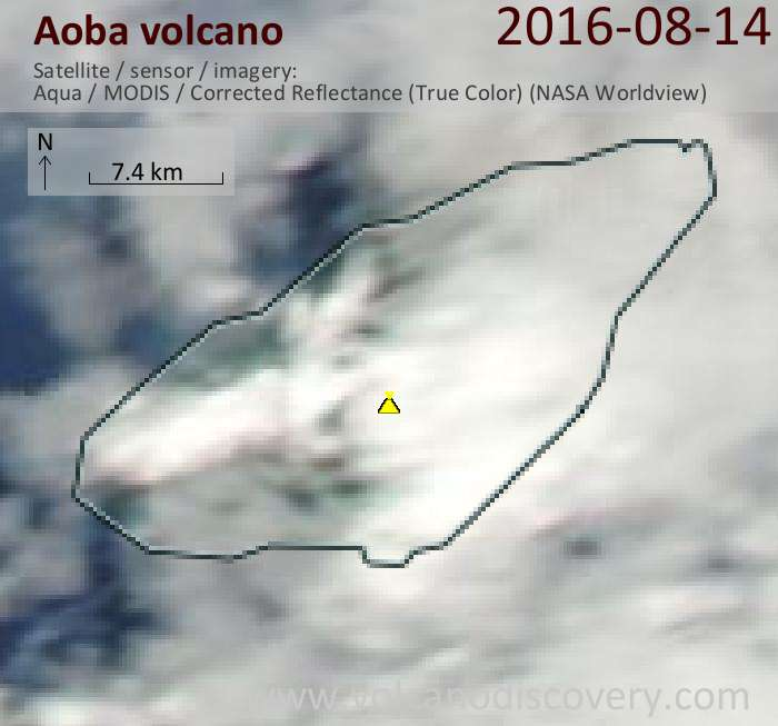 Aoba volcano Aqua satellite image from today showing what is perhaps a steam plume stretching west