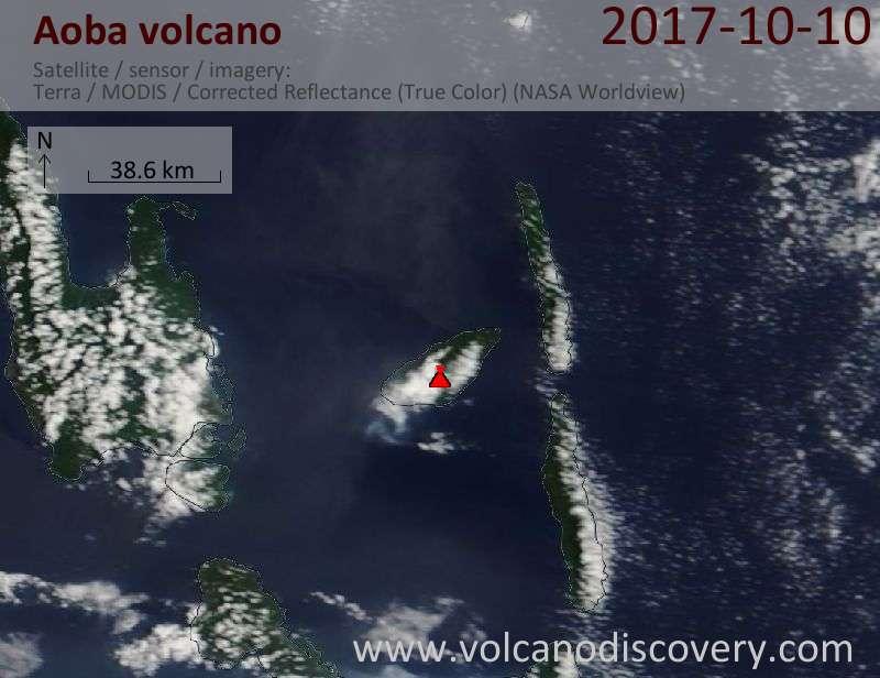 Satellite image of Aoba volcano on 10 Oct 2017