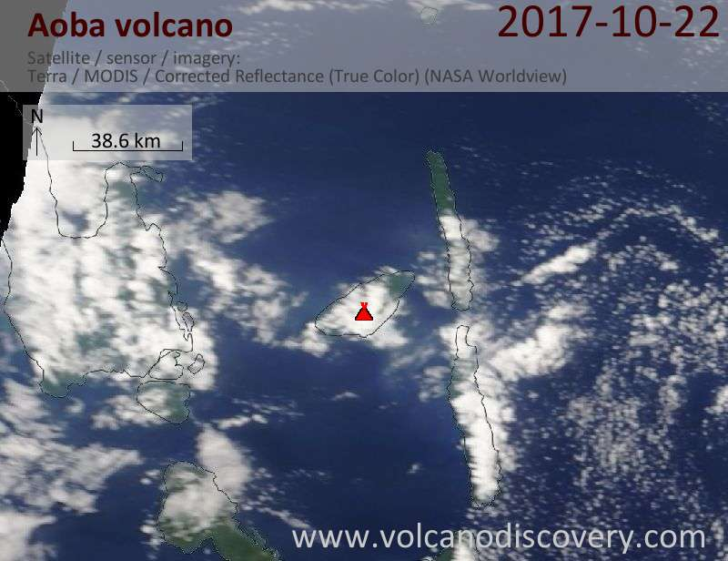 Satellite image of Aoba volcano on 22 Oct 2017