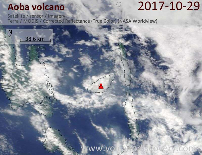 Satellite image of Aoba volcano on 29 Oct 2017