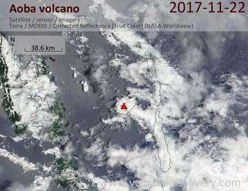 Satellite image of Aoba volcano on 22 Nov 2017