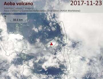 Satellite image of Aoba volcano on 23 Nov 2017