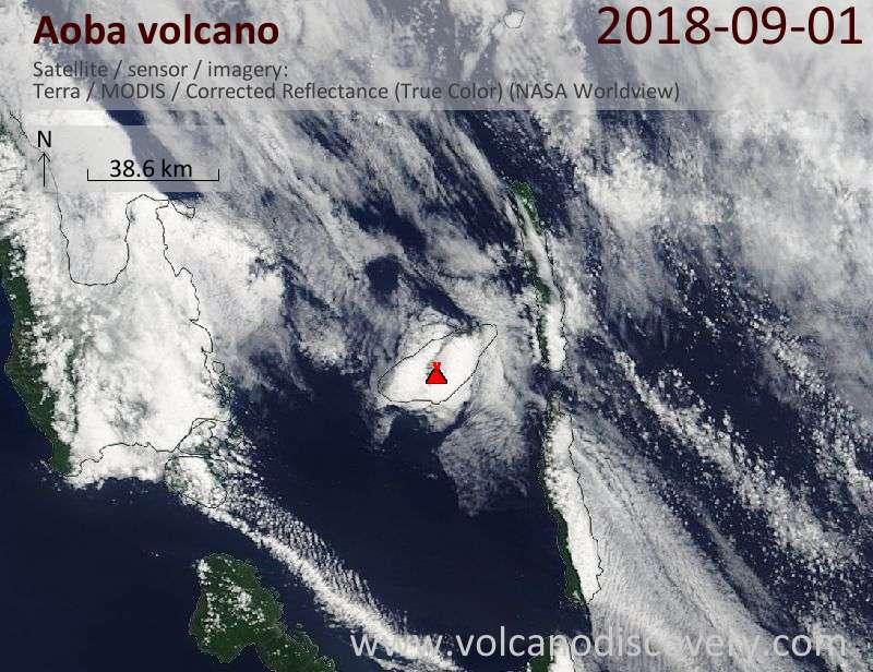 Satellite image of Aoba volcano on  1 Sep 2018