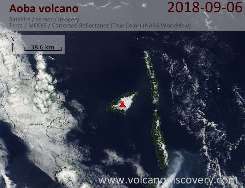 Satellite image of Aoba volcano on  6 Sep 2018