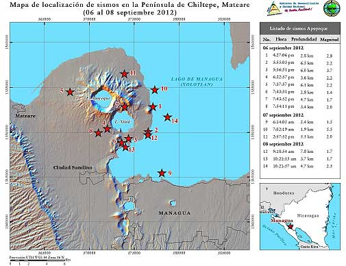 Map of recent quakes at Apoyeque volcano (INETER)
