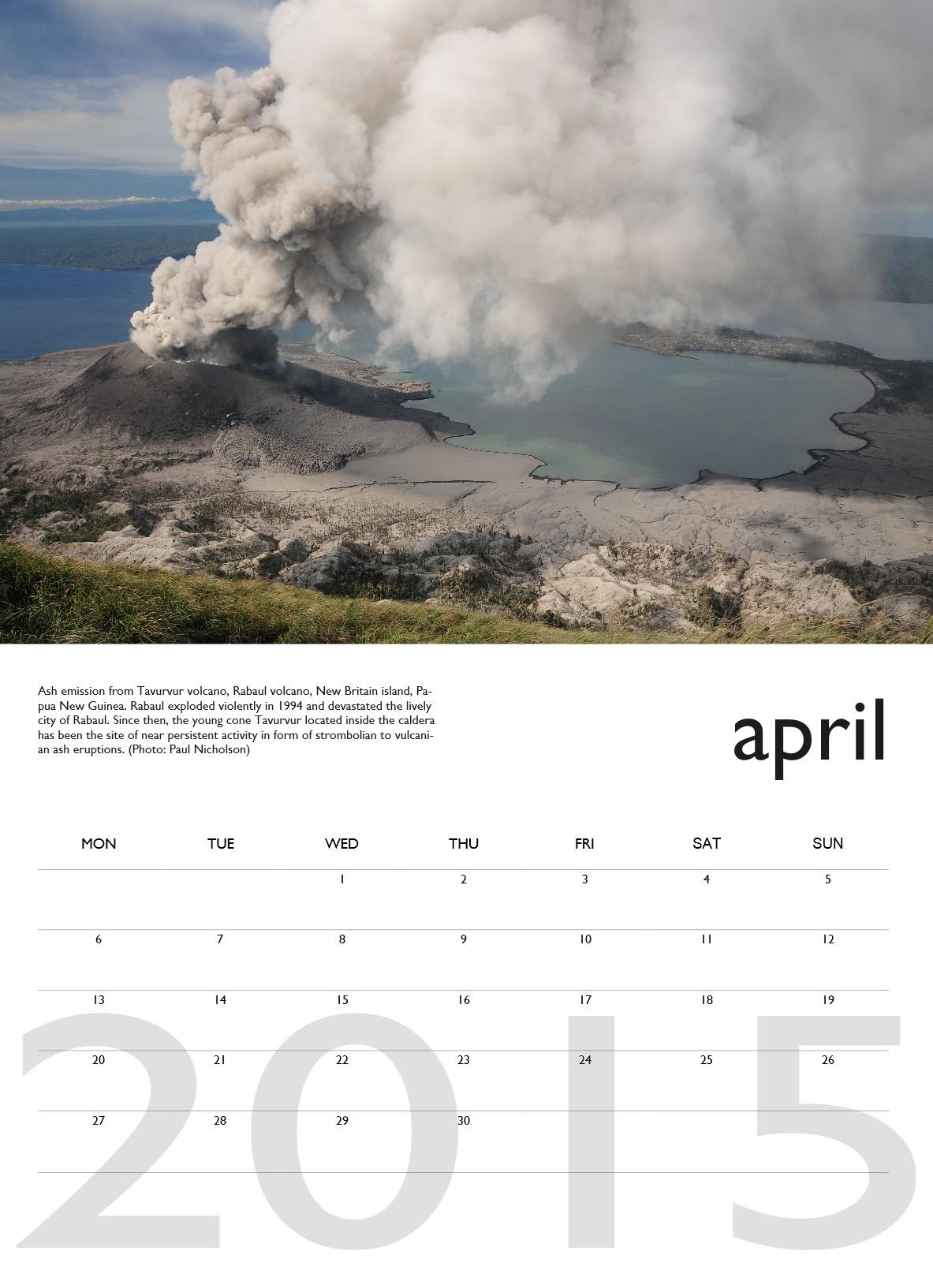 Volcano calendar 2015 - April preview
