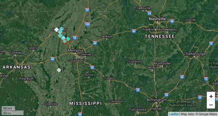 Last evening's felt quake in eastern Arkansas