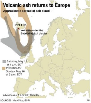 Ash over Europe on 15 May, 2010