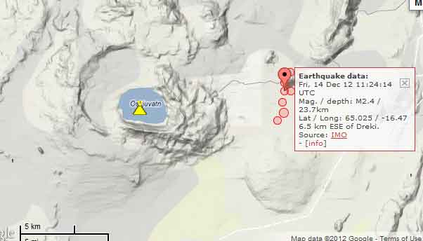 Location of quakes near Askja today (Icelandic Met Office)