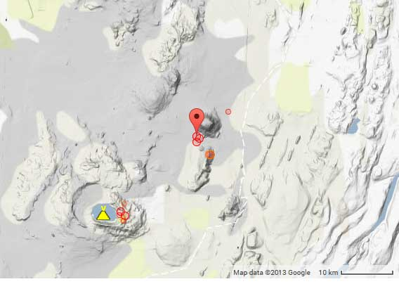 Recent earthquakes near Askja volcano in Iceland
