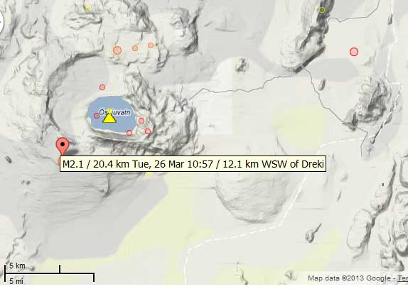 Map of recent quakes near Askja