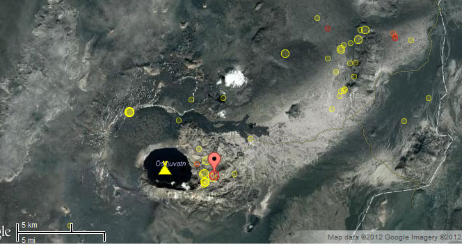 Location of recent quakes (Sep 2012) at and near Askja volcano