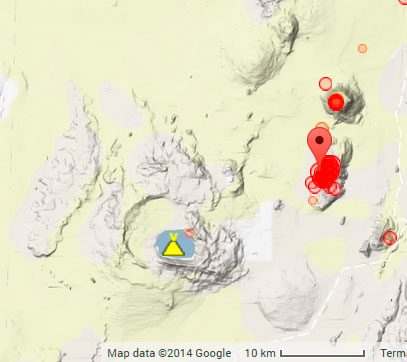Location of the recent earthquakes near Askja (Iceland)