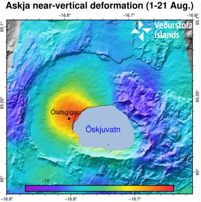 The image depicts the near-vertical deformation in mm for the period 1-21 August. The InSAR image is obtained from two passages of Sentinel-1 satellite. The red color indicates uplift and the blue corresponds to subsidence (see the scale). The area experiencing the highest inflation is north-west Öskjuvatn. The black triangle indicates the location of the closest GPS station Ólafsgíga (OLAC) (image: IMO)